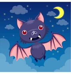 Bat on night sky vector image vector image