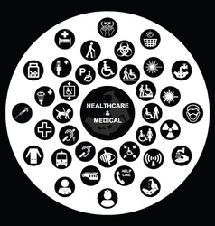 Circular Medical and health care Icon collection vector image