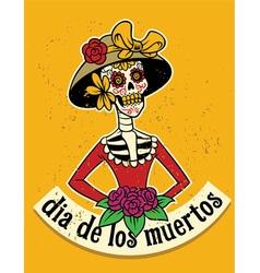 dia de los muertos skull vector image