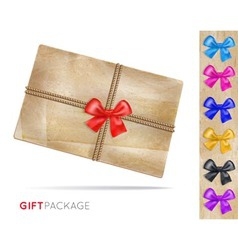 gift package of old paper with a bow vector image