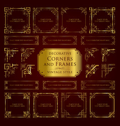 golden decorative corners and frames vector image vector image