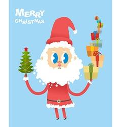 Happy Christmas Cute Santa Claus holding many vector image vector image