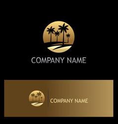 palm tree icon tropic gold logo vector image