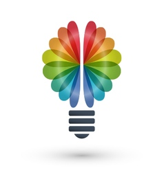 Rainbow brain and light bulb icon logo design vector image