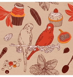 Sweet cupcakes parrots flowers vector image