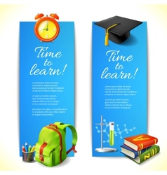 Time to learn vertical banners vector image