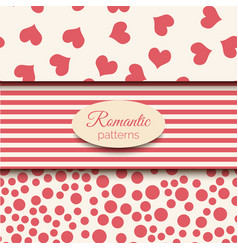 3 romantic seamless patterns pink vector image