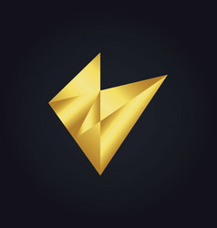 Abstract triangle shape gold logo vector