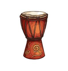 African djembe drum skin-covered goblet jembe vector