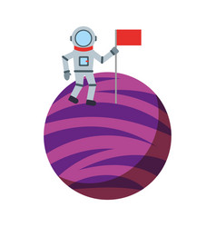 Astronaut with flag comic character icon vector
