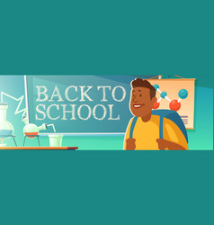 Back to school poster with student in classroom vector
