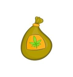 Bag with cannabis icon cartoon style vector image