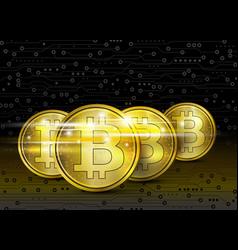bitcoin digital design on circuit board vector image