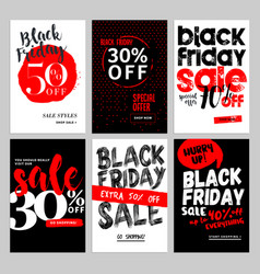 black friday sale mobile banners vector image