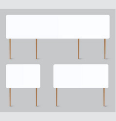 Blank placard realistic whiteboard attached to vector