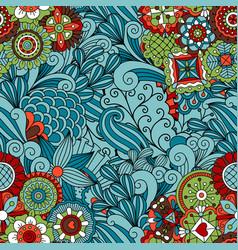 blue ornamental floral pattern design vector image