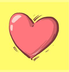 Cartoon heart on yellow background heart symbol vector
