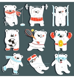 Cartoon Sport Bears in Action Collection vector image