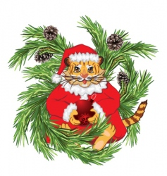 cartoon tiger Santa vector image