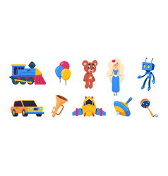 cartoon toys cute badolls colored balloons vector image