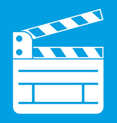 Clapperboard icon white vector