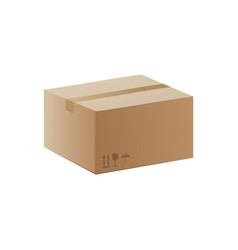 closed brown carton delivery close box realistic vector image