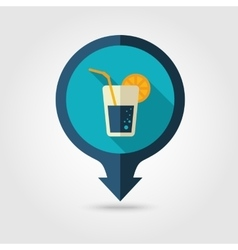 Cocktail pin map flat icon Summer Vacation vector