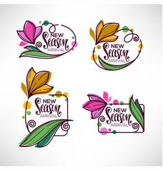 collection doodle flowers emblems frames and vector image