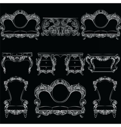 Collection of Baroque style armchairs vector