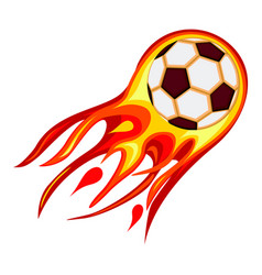 colorful cartoon soccer fast ball flame vector image
