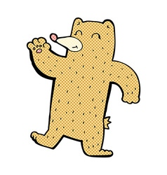 Comic cartoon waving bear vector