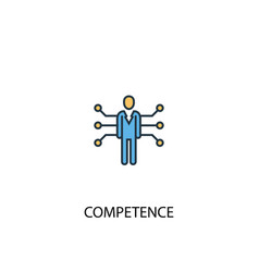 Competence concept 2 colored line icon simple vector