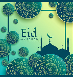 Creative eid festival greeting background with vector