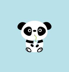 cute funny animal panda character drinking milk vector image