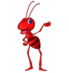 Cute red ant cartoon vector