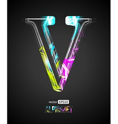 Design Light Effect Alphabet Letter V vector