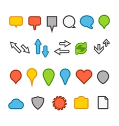 Different web color icons collection vector