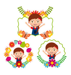 Differents label cute girl happy flowers floral vector