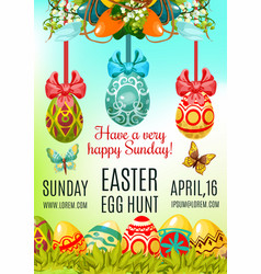 Easter egg hunt and holy sunday poster template vector