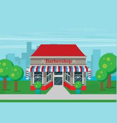 facade of barbershop flat vector image