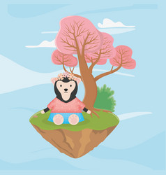 female sloth bear with flowers fantasy fairy tale vector image