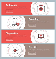 Flat Design Concept Set of Web Banners Ambulance vector