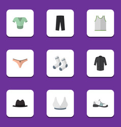 flat icon clothes set of foot textile panama vector image
