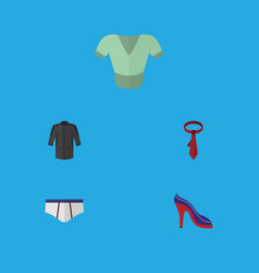 Flat icon clothes set of uniform underclothes vector