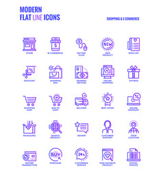 Flat line gradient icons design-shopping and e vector