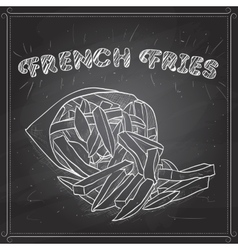 French fries scetch on a black board vector