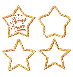 gold star set vintage shine lamp star vector image