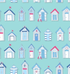 Hand Drawn Beach Huts in a Seamless Pattern vector
