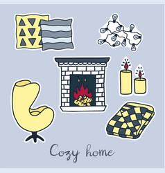 Hand drawn stickers set of hygge elements cozy vector