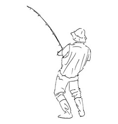 Hand sketch line fisherman vector image